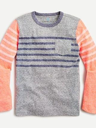 KIDS Kids' long-sleeve pocket T-shirt in colorblock stripe