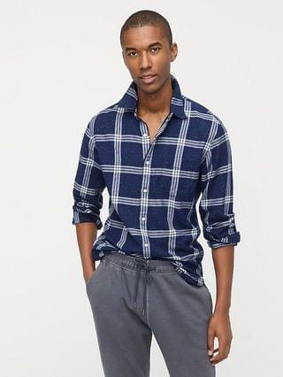 MEN Slim neppy indigo twill shirt in plaid