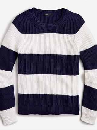 WOMEN Fisherman crewneck sweater in striped cotton-cashmere