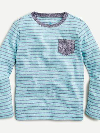 KIDS Kids' long-sleeve pocket T-shirt in blue-grey stripe