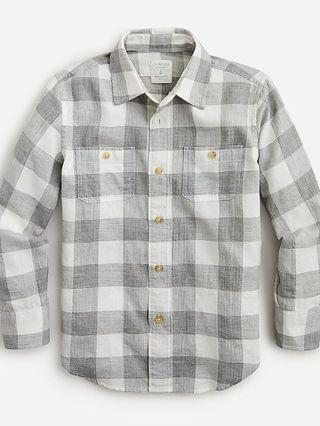 KIDS Boys' crinkle cotton shirt in grey plaid