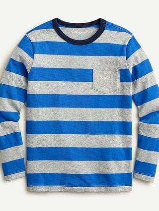 KIDS Kids' long-sleeve pocket T-shirt in blue stripe