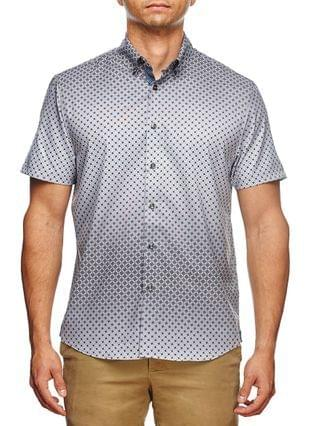 MEN Slim Fit Ombre Geo Print Short Sleeve Shirt and a Free Face Mask