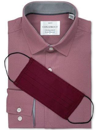 MEN Receive a FREE Face Mask with purchase of the Con.Struct Men's Slim-Fit Burgundy Dress Shirt, Created for Macy's