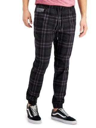 MEN Vale Relaxed-Fit Plaid Jogger Pants, Created for Macy's