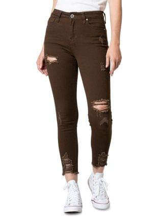 WOMEN Juniors' Brown High Rise Destructed Skinny Ankle Jeans