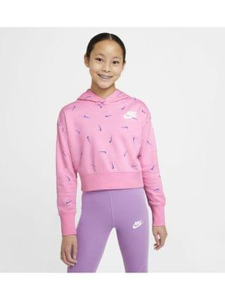 KIDS Big Girls Sportswear Cropped Pullover French Terry Hoodie