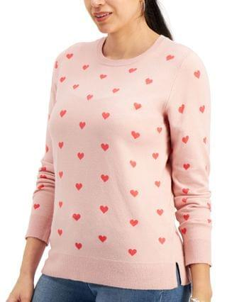 WOMEN Heart-Print Pullover Sweater, Created for Macy's