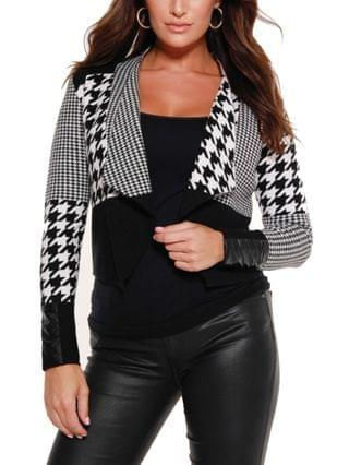 WOMEN Black Label Multi Houndstooth Cropped Sweater Blazer