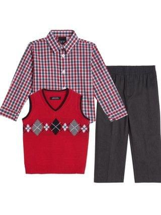 KIDS Toddler Boys Argyle 3 Piece Sweater Set