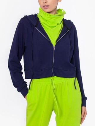 WOMEN Cropped Zip Up Hoodie with Removable Dickie Mask Created for Macy's
