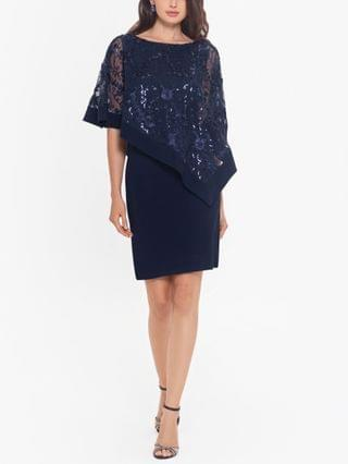 WOMEN Sequinned-Overlay Sheath Dress