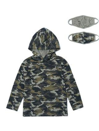 KIDS Little Boys Long Sleeve Camo Print Hoodie with Matching Face Mask