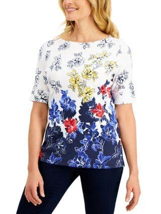WOMEN Petite Floral-Print Elbow-Sleeve Top, Created for Macy's