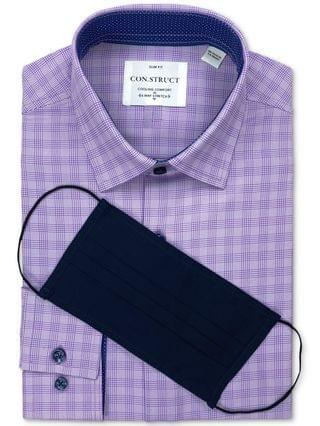 MEN Receive a FREE Face Mask with purchase of the Con.Struct Men's Slim-Fit White/Purple Houndstooth Dress Shirt Created for Macy's