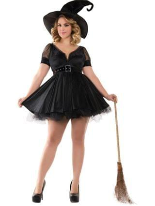 MEN Sassy Plus Bewitching Pin-Up Witch Adult Costume