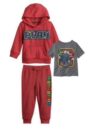 KIDS Little Boys Mario Brothers Hoodie with T-shirt and Fleece Pant Set 3 Piece