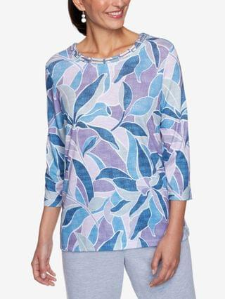 WOMEN Plus Size Relaxed Attitude Stained Glass Print Top