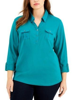 WOMEN Plus Size Solid V-Neck Woven Top, Created for Macy's
