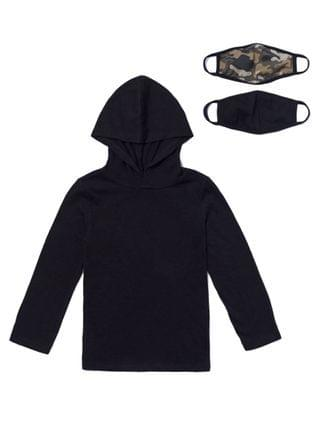 KIDS Little Boys Long Sleeve Solid Hoodie with Matching Face Mask