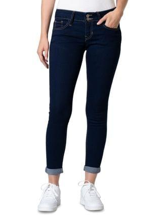 WOMEN Juniors' Curvy-Fit Roll-Cuff Skinny Ankle Jeans