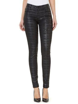 WOMEN Mid-Rise Coated Check-Print Skinny Jeans