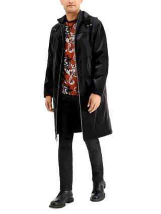 MEN INC Men's Pieced Faux Leather Topcoat, Created for Macy's