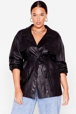 WOMEN Life On Mars Plus Faux Leather Belted Jacket