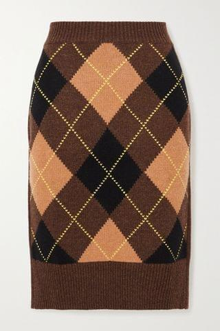 WOMEN BURBERRY Ayla argyle wool and cashmere-blend skirt