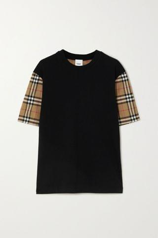 WOMEN BURBERRY Checked poplin and cotton-jersey T-shirt