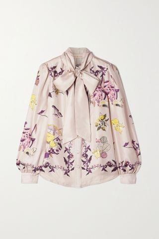 WOMEN Tory Burch Pussy-bow printed silk-twill blouse