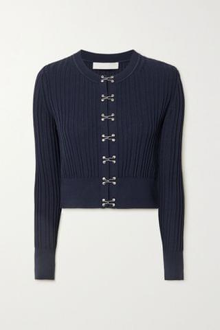 WOMEN DION LEE Cropped ribbed-knit cardigan