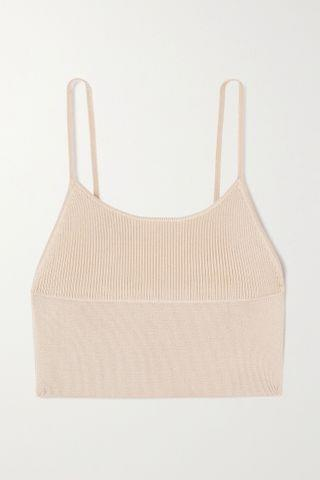 WOMEN DION LEE Density cropped ribbed-knit top