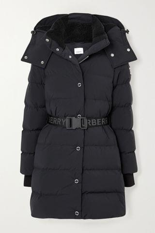 WOMEN BURBERRY + NET SUSTAIN belted hooded quilted shell down coat