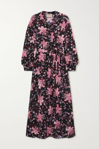 WOMEN GUCCI Belted floral-print crepe midi dress