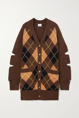 WOMEN BURBERRY Oversized cutout argyle wool and cashmere-blend cardigan
