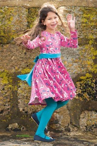 KIDS Frugi GOTS Organic Party Skater Dress - Pink Unicorns