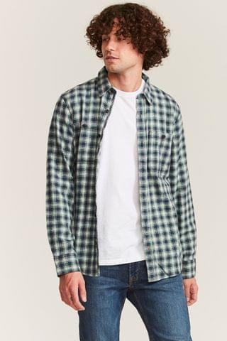 MEN FatFace Green Elshot Check Shirt