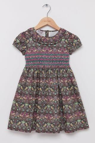 KIDS Trotters London Brown Strawberry Thief Willow Smocked Liberty Print Dress
