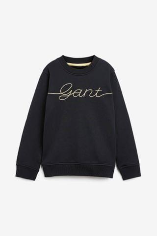 KIDS GANT Black Script Crew Neck Top