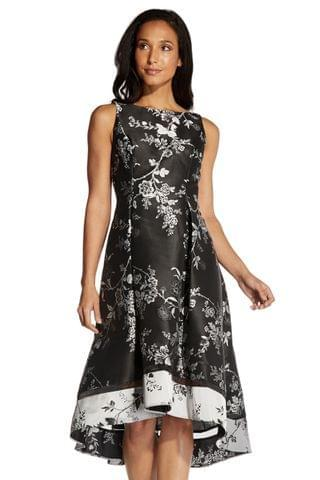 WOMEN Adrianna Papell Black Floral Jacquard Cocktail Dress
