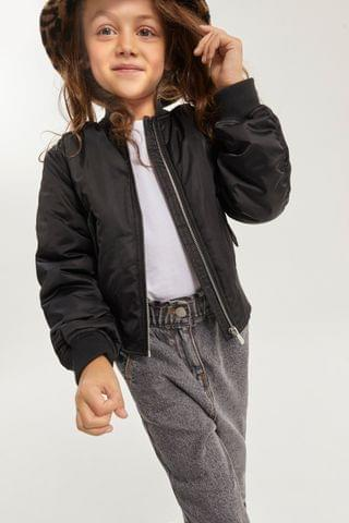 KIDS Black Shower Resistant Bomber Jacket (2-16yrs)