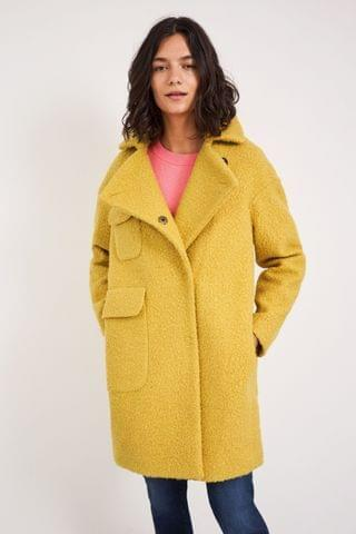 WOMEN White Stuff Yellow Jude Boucle Coat