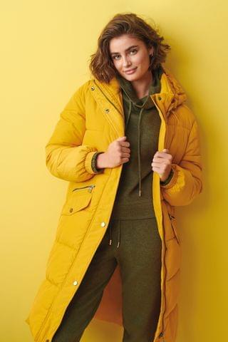 WOMEN Yellow Padded Coated Coat