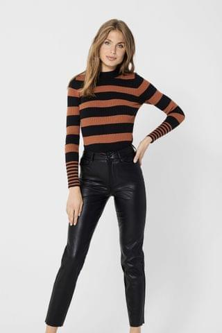 """WOMEN Only High Waisted Faux Leather Trousers 34"""" Leg"""