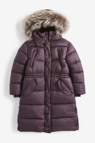 KIDS Plum Faux Fur Trim Long Length Shower Resistant Padded Jacket (3-16yrs)