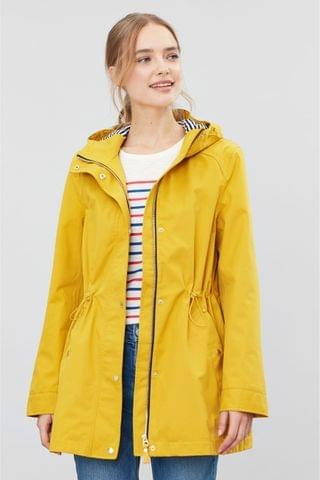 WOMEN Joules Yellow Shoreside Waterproof A-Line Coat