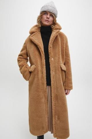 WOMEN Calvin Klein Brown Teddy Coat