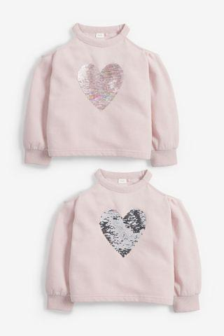 KIDS Cold Shoulder Sequin Heart Crew Neck Sweat Top (3-16yrs)