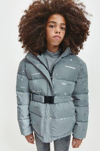 KIDS Calvin Klein Jeans Silver Reflective Logo Padded Jacket